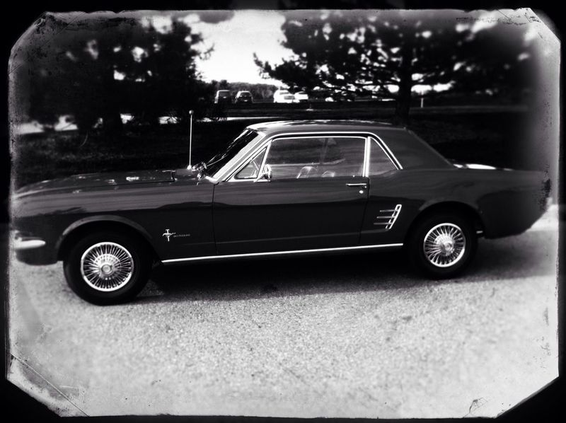 Ford Mustang Classic Car Car Automobile Auto Monochrome Black And White