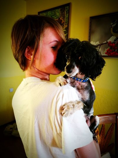 My Doughter My Dog One Girl One Animal Dearness Pet Chinese Crested Dog Indoors  In Home
