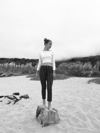 Pacific Coast Blackandwhite EyeEm Best Shots HalfMoonBay Montera Standing Sky One Person Land Full Length Casual Clothing Lifestyles Outdoors Young Women Scenics - Nature The Portraitist - 2018 EyeEm Awards
