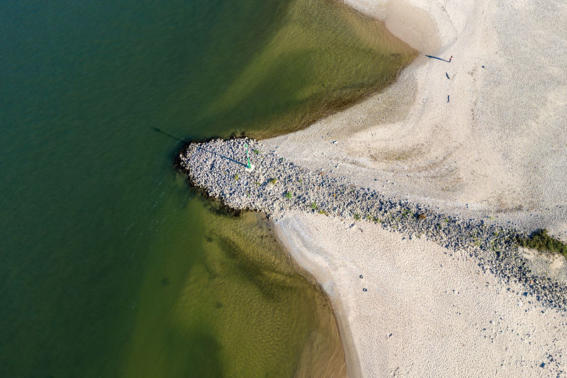 reaver beach at Rhine river Water Beach High Angle View Aerial View Sunlight Day Drone Photography Riverbank