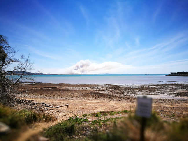 Beach Beauty In Nature Blue Bush Fire Cloud - Sky Day Defocused Edges Horizon Horizon Over Water Land Nature No People Outdoors Scenics - Nature Sea Selective Focus Sky Tranquil Scene Tranquility Travel Water