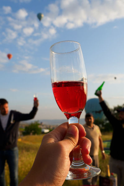 Beautiful Day Beautiful People Bottoms Up Cappadocia Cappadocia/Turkey Celebrate Your Ride Celebrating Life Celebration Happiness Hot Air Balloons We Made It Alcohol Cappadocia Hot Air Ballons Celebrating Cheers Drink Glass Hand Holding Human Hand Lifestyles Refreshment Sky Wine Wineglass