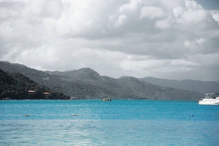 Mountain Water Scenics Cloud - Sky Outdoors Sea Tranquil Scene Beauty In Nature Sky Nautical Vessel Day Beach Nature No People Vacations Labidee, Haiti Haiti HaitiTourism Haitian Beauty