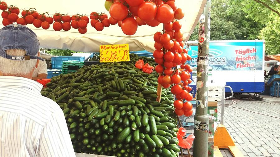 Market Tomatoes Vegetables Shopping Man Hat Cucumbers