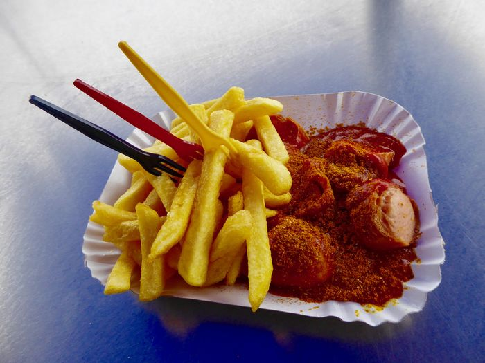 3.Öktober 2018 Berlins National Dish Curry Wurst & Pommes Day Of German Unification German National Colours Schwarz-rot-gold Close-up Fast Food No People Ready-to-eat