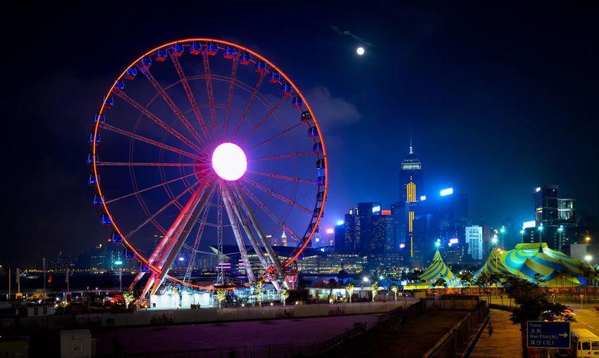 City at night Traveling At Hong Kong Ferris Wheel Night Sky Arts Culture And Entertainment Illuminated