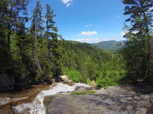 Mountains Waterfall Trees Sky Clouds Hiking Trail Sunshine