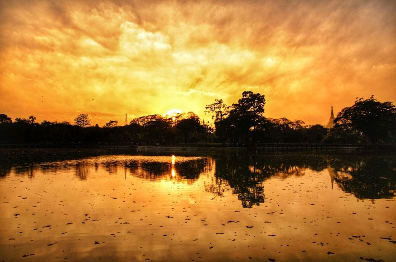 Sunset in Kandawgyi Reflection Sunset Silhouette Lake Cloud - Sky Water Nature Sky Scenics Capture Tomorrow