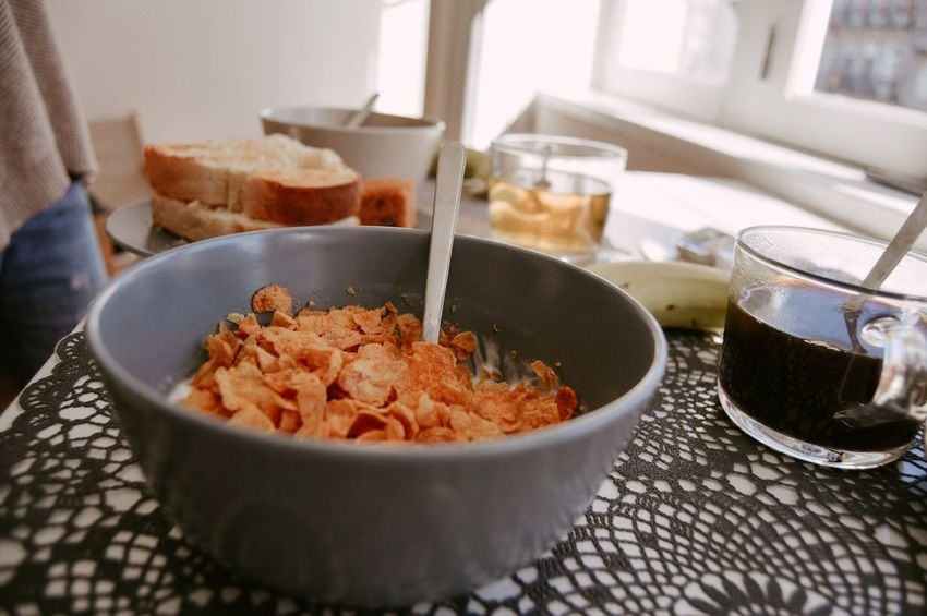 Breakfast Coffee Cereals Milk Breakfast Food And Drink Food Bowl Close-up Food And Drink Dried Fruit