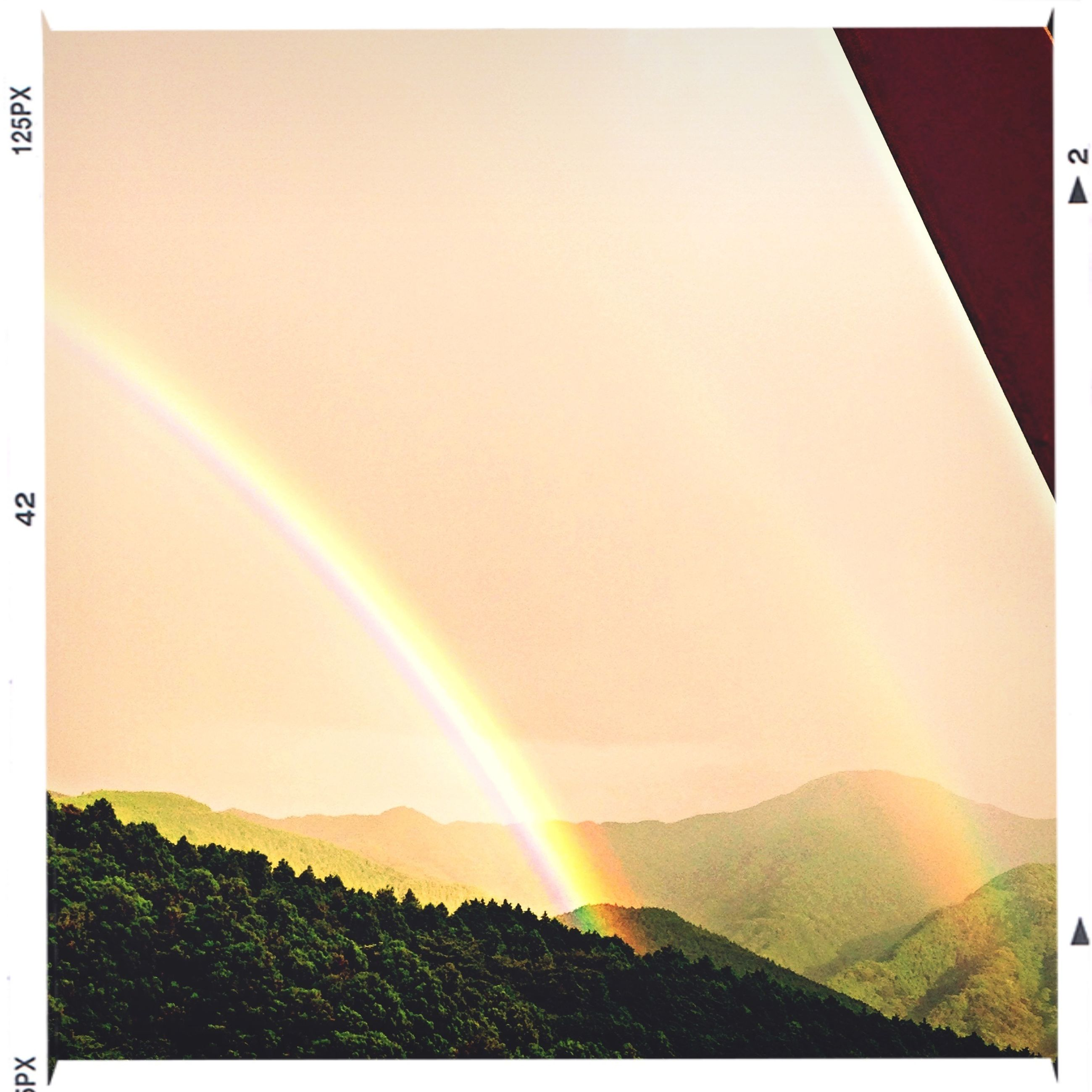 transfer print, landscape, scenics, tranquil scene, auto post production filter, beauty in nature, rainbow, tranquility, sun, sunbeam, nature, sunlight, sky, mountain, idyllic, lens flare, copy space, multi colored, field, panoramic