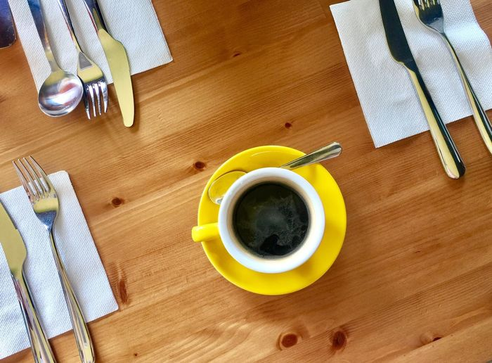 Yellow Coffee Food And Drink Table High Angle View Coffee - Drink Coffee Cup No People Breakfast Yellow Cup