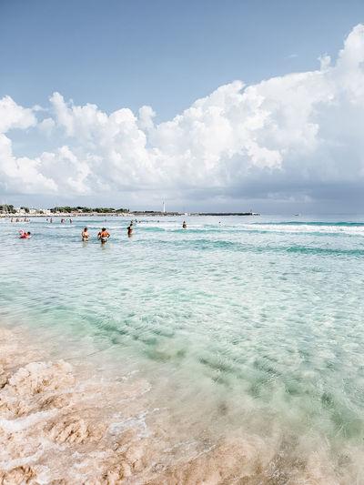 Water Sea Beach Flamingo Swimming Summer Blue Sky Horizon Over Water Cloud - Sky Seascape Coast Snorkeling Lagoon Ocean