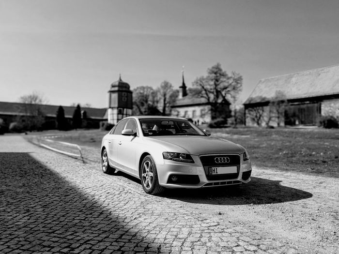 Car Transportation Outdoors Sky Day Trees Nature Delemo Bnw Black And White Audi Audi A4 Shotwithpixel Shadow And Light