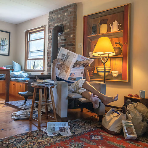 Messy Room Newspapers Rustic Sunday Morning Barefeet barefoot Brick Fireplace Cottage Country House Daylight Indoors  Lounge Chair Lounging Oil Painting Reading Newspaper Standing Lamp Sunny Day Window Seat The Portraitist - 2018 EyeEm Awards