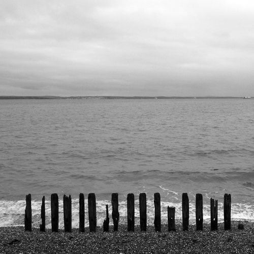 Sea Teeth Black & White Beach Blackandwhite Cloud - Sky Day Horizon Over Water Nature No People Outdoors Scenics Sea Sky Tranquil Scene Tranquility Water Wooden Post