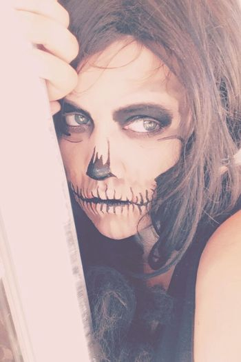Skull Makeup Halloween Horrors Halloween Shadows Darkness And Light Looking At Camera One Person Young Adult Beautiful Woman Young Women Real People Portrait Indoors  Lifestyles Front View Close-up Leisure Activity Human Face Beauty Day One Young Woman Only People
