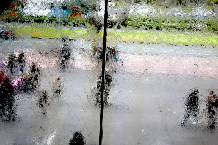 Nationalgalleryofvictoria Streetphotography Rain Drops Rainy Day Abstract Window Waterfall Glass Melbourne Distortion Pedestrians Walking Umbrellas View From Above Water Rain Streaked Windows