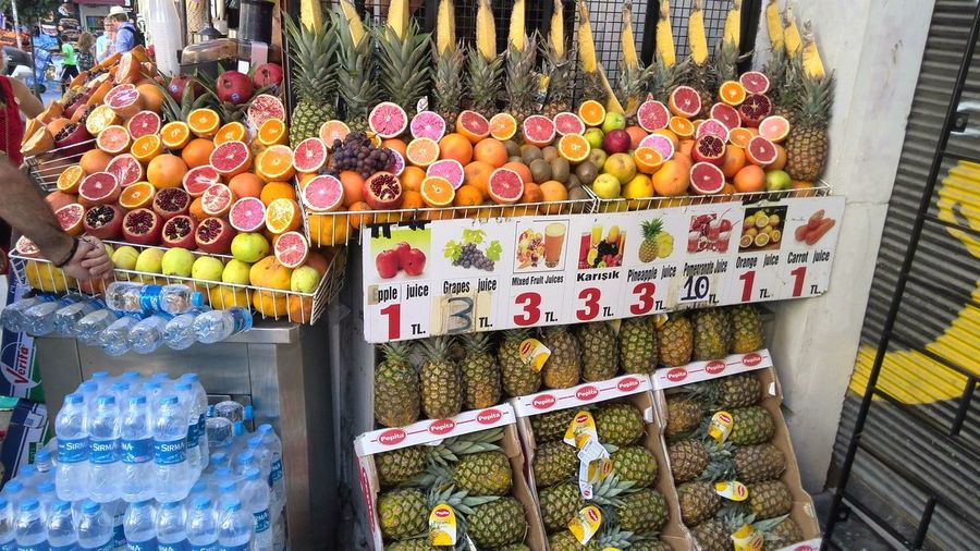 Colourful display in Istanbul Business Finance And Industry Choice Day Food For Sale Freshness Fruit Stall In A Row Market Market Stall Multi Colored No People Outdoors Price Tag Retail  Variation