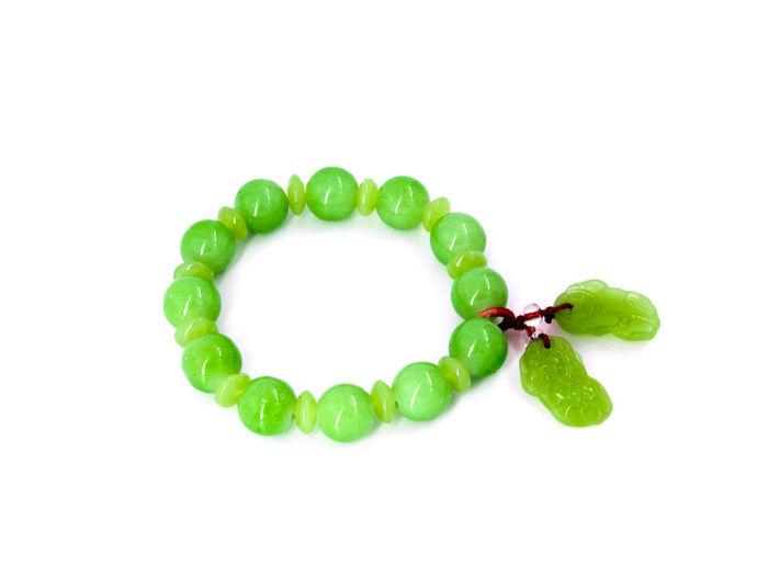 Bracelet Close-up Day Freshness Green Color Jade Leaf Nature No People Studio Shot White Background กำไลข้อมือ หยก