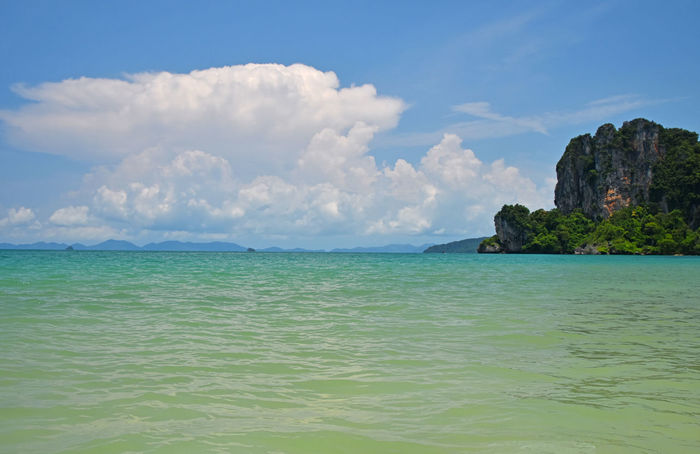 Beautiful peaceful seascape of Railay West beach Azure Horizon Over Water Krabi Krabi Thailand Nature Ocean The Great Outdoors With AdobeParadise Railay Beach Scenics Sea Sea And Sky Sea View Seascape Seaside Shore Teal Thai Thailand Tranquility Vacations Voyage Water Blue WaveLandscapes With WhiteWall