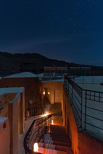 Night in the desert of Feynan ASIA Feynan Jordan Landmark Middle East Night Safety Sky Stars Touristis