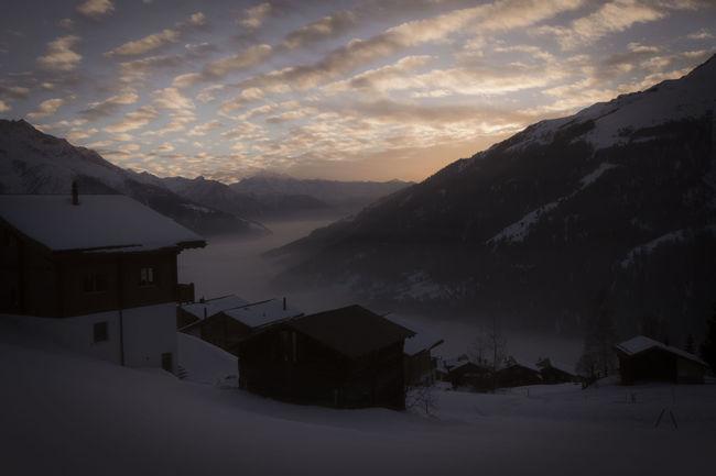 Love this one Valais Switzerland Bellwald Foggysunset Alps Sunset Winterwonderland Ownstuff First Eyeem Photo