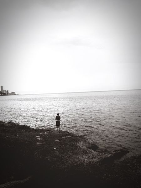 Malecon Cuba Havana Havanna, Cuba Black And White Photography Black & White Black And White Fishing Fisherman Silhouette Water Ocean Telling Stories Differently The Great Outdoors With Adobe Cities At Night Fine Art Photography Monochrome Photography TakeoverContrast An Eye For Travel
