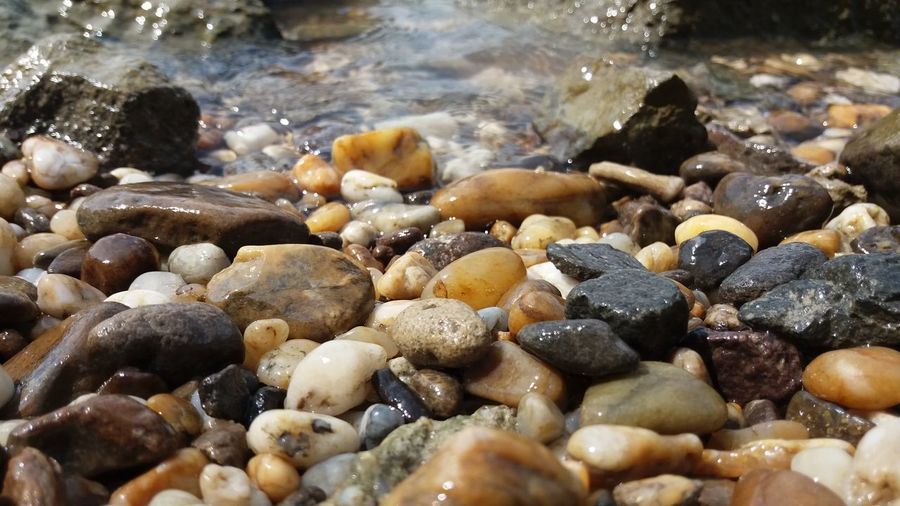 Surface level of pebbles on beach