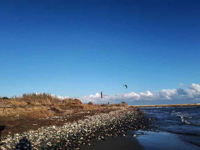 Scenic view of beach against blue sky with kite