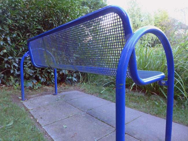 Bad Sassendorf Bench Blue Bench Empty Field Kurpark  Metalic Structure Metallic No People Resting