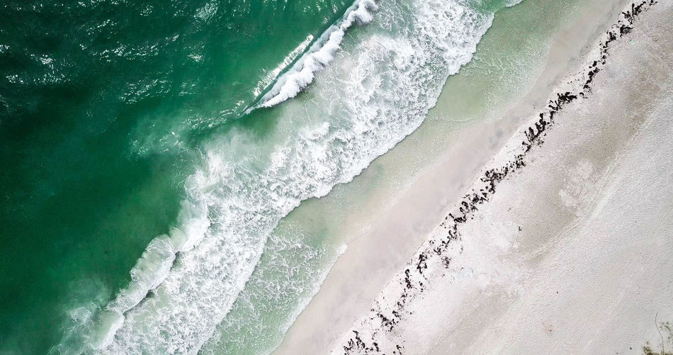 Florida Sandy Beach Sea Outdoors Green Color Scenics - Nature Day Nature Land Beauty In Nature Beach Wave Water Ocean Drone  Aerial View Aerial