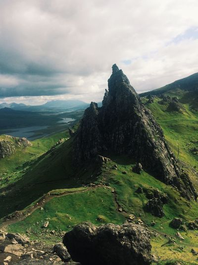 Old man of storr against cloudy sky