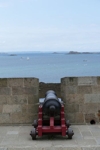 Cannon Weapon Sea Water Fort Horizon Over Water Built Structure History St Malo Brittany France City Wall City Walls Sailboats