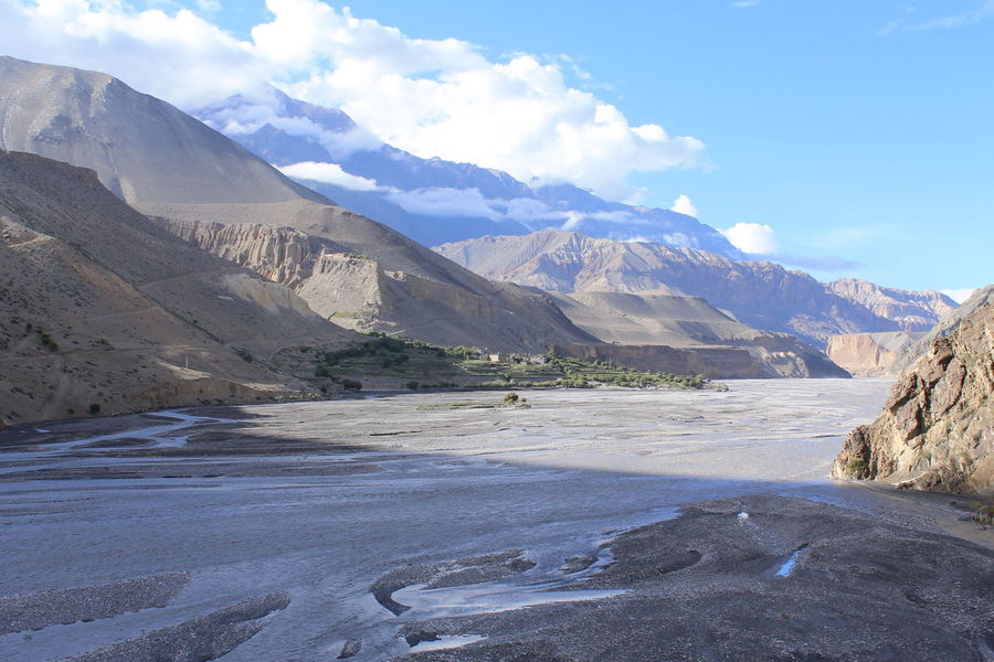 kagbeni Nepal Beauty In Nature Blue Desert Mountains Idyllic Kagbeni Kali Gandaki River Nepal Landscape Mountain Range Mountain With A River Nature Nepal Mountain Nepal Trekking No People Outdoors Peace Remote Shadow Tranquil Scene Tranquility Travel Destinations Trekking