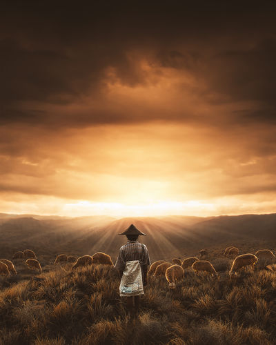 The farmer is watching the sunset