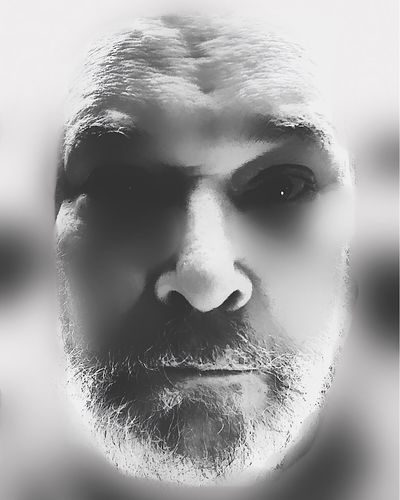 egghead IPhoneArtism Another Self Portrait Weird People =|| Post-production Editing/rendition Every Image Begins As RAW Photograph Facial Hair Close-up Portrait Headshot Body Part One Person Looking At Camera Human Face Front View Human Body Part Adult Serious Studio Shot Men Indoors