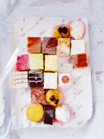 Close-up Gelatin Dessert Prepared Food Mousse Assortment Candy Pastry Served Colored Pencil Various