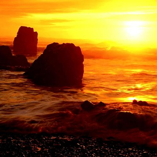 Paint The Town Yellow Sunset Sea Rock - Object Wave Orange Color Sun Beach Nature Horizon Over Water Beauty In Nature Sunlight