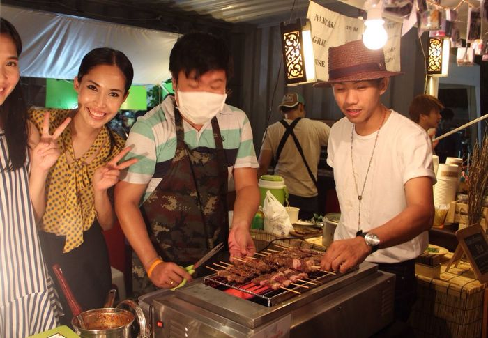 ArtBox Bangkok- BBQ-Friendly young stall owners! Taste so good! 烧烤真的好吃 Traveling Bangkok Artboxbangkok The Traveler - 2015 EyeEm Awards The Street Photographer - 2015 EyeEm Awards Streetphotography Foodporn Bangkok Thailand.
