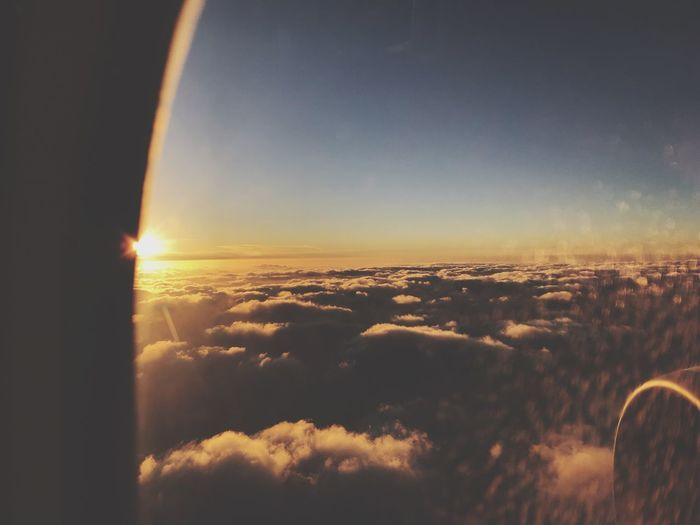 Sky Sunset Cloud - Sky Beauty In Nature Scenics - Nature Sunlight Sun No People Tranquil Scene Orange Color Cloudscape Lens Flare Airplane