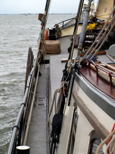 Nautical Vessel Sky Transportation Nature No People Day Outdoors Plattbodenschiff Plattbodem Water Sea Mode Of Transportation Architecture Wood - Material Railing Moored Travel High Angle View Scenics - Nature Built Structure Rope