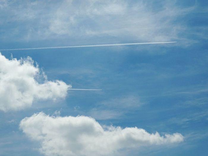 Air Plane Plain Trails Blue Sky Blue Wave Clouds Simple Eyeem Market