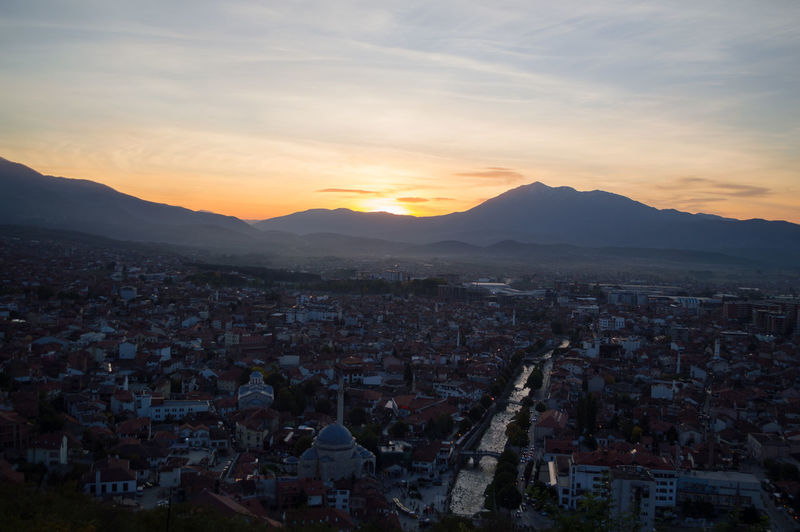 Sunset View from Prizren Fortress, Kosovo Balkan Eastern Europe Kosovo Architecture Beauty In Nature Building Exterior Built Structure City Cityscape Crowded Day Fortress High Angle View Mountain Mountain Range Nature Outdoors Prizren Residential  Residential Building Sky Sunset Town Travel Destinations