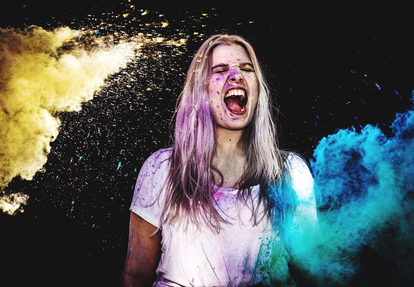 Colorful Live One Person Shouting Holi Model Posing Holi Festival Of Colours Photoshoot Colors Happiness Fun Black Background Holi Powder Blond Hair Long Hair Photography