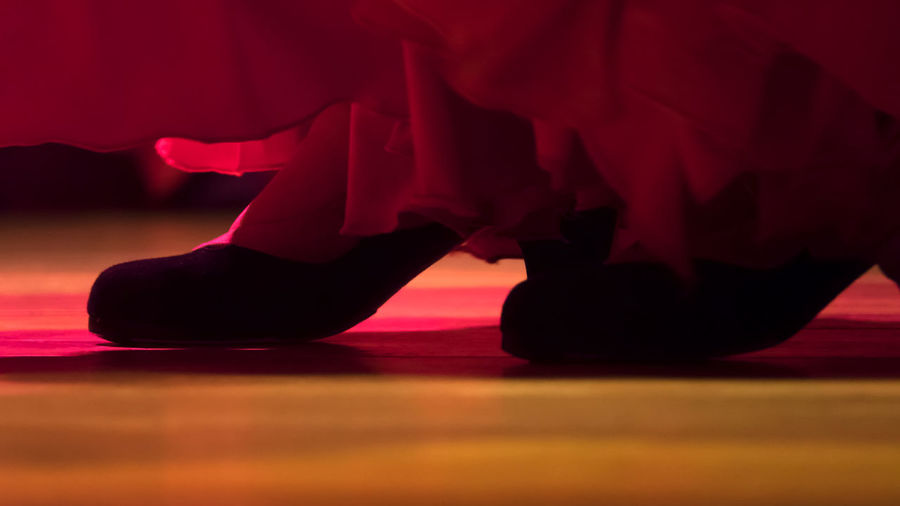 Low section of female dancer dancing on stage