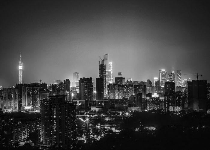 Blacken Night Architecture Building Exterior City Skyscraper Cityscape Built Structure Urban Skyline Modern Tower Illuminated Sky No People Outdoors Night Travel Destinations Downtown District Guangzhou China Black_and_white Blackandwhite Fresh On Market 2016