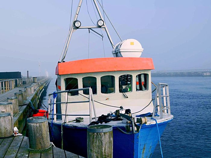 By Trond 📸 Sea No People Harbor Outdoors Foggy Day Blue Sky Water Fisherman Fishing Boat in Kerteminde , Denmark