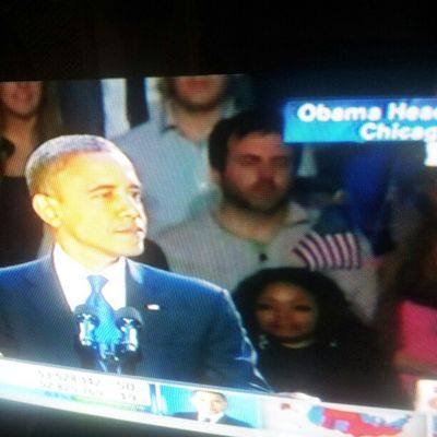 is that Oprah behind Obama ? Check out the flag sticking out of her head.. Election2012 Obama2012