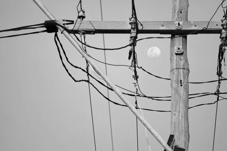 Black Black & White Black And White Black And White Photography Black&white Blackandwhite Blackandwhite Photography Blackandwhitephotography Cable Complexity Connection Day Electricity  Electricity Pylon Evening High Section Moon Moon Shots No People Pole Power Line  Sky Sky And Clouds Skyporn Steel Cable