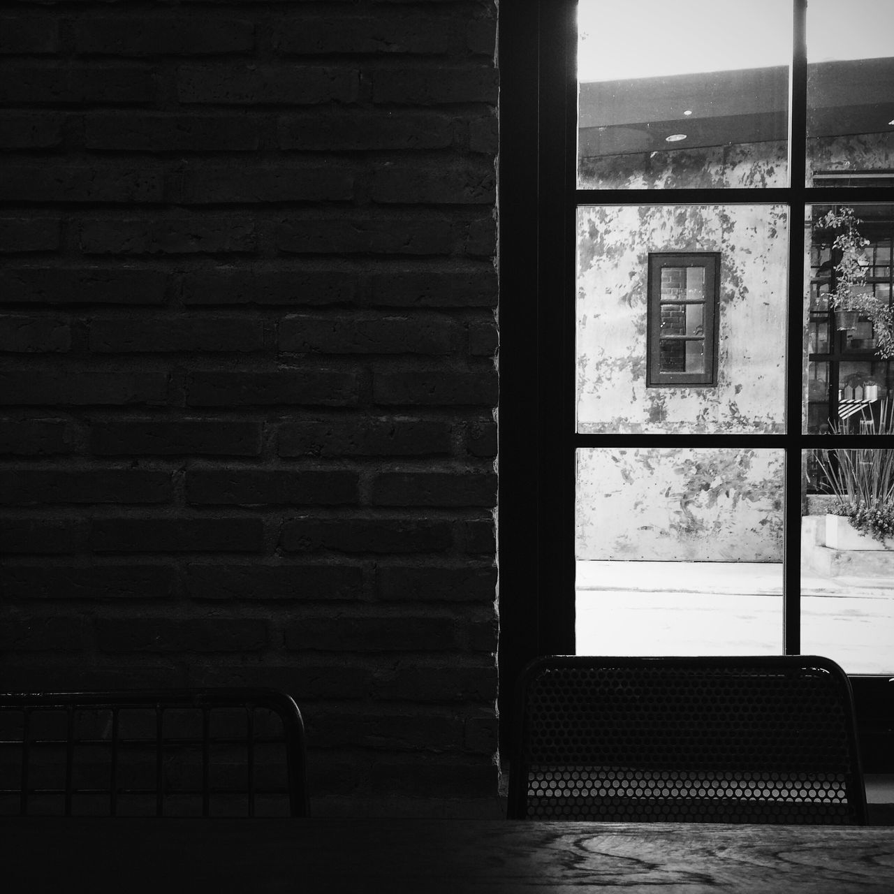 window, indoors, brick wall, built structure, architecture, no people, day